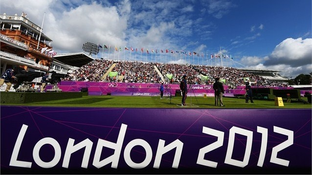 Hayakawa Ren of Japan competes in her women's individual Archery 1/8 eliminantions match against Ki Bo Bae of Republic of Korea during the women's Individual Archery on Day 6 of the London 2012 Olympic Games at Lord's Cricket Ground