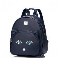 Modnie zdobiony dziewczęcy plecak Niebieski