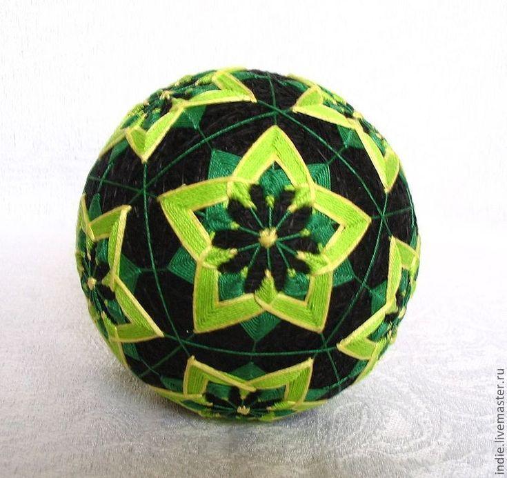 """Купить Темари """"Звездочки"""" - зеленый, темари, шарик, оригинальный сувенир, черно-зеленый, декор для интерьера"""