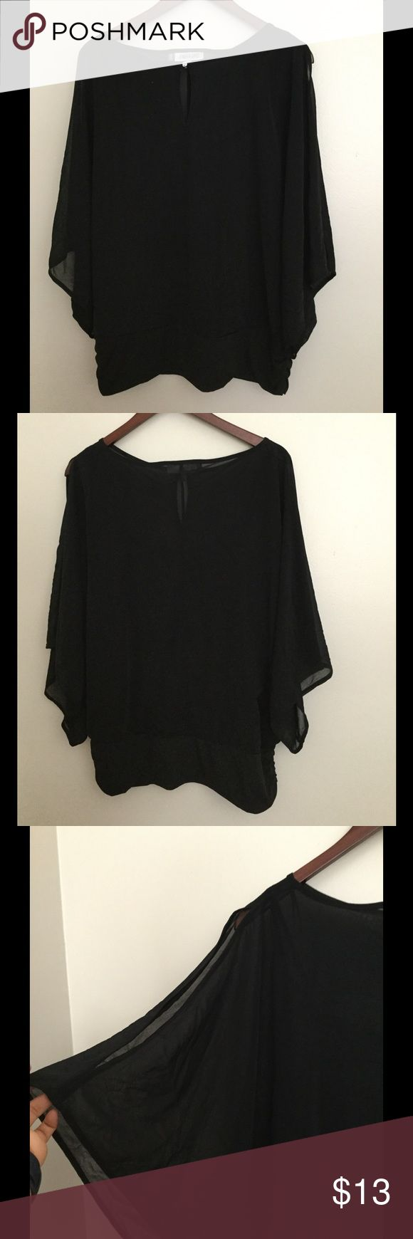 1 DAY SALE Jennifer Lopez Sheer top w/black tank Jennifer Lopez Sheer batwing top with black tank top beneath. Size XL. Pre-owned and in good condition. Top is tapered at bottom with some ruching on the sides (see last pic) Jennifer Lopez Tops Blouses