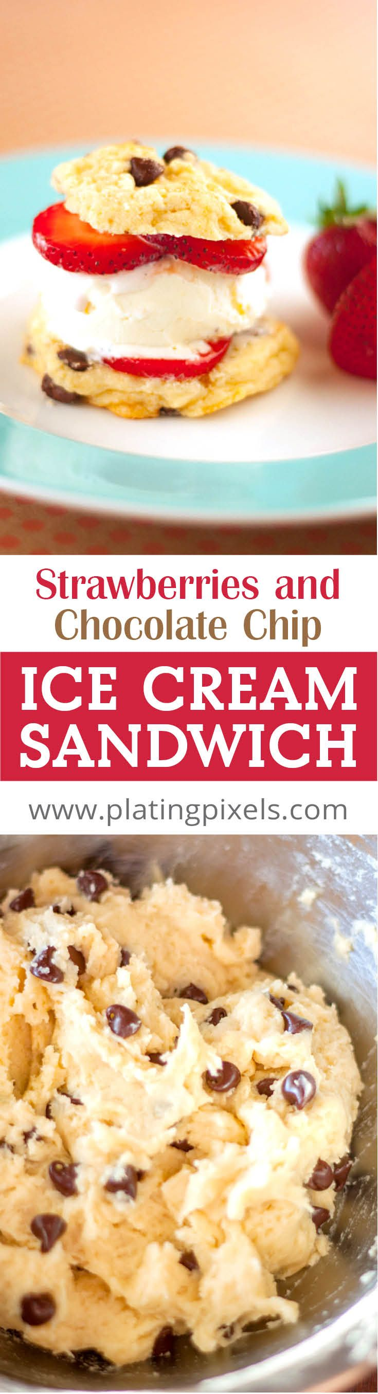 Strawberry and Chocolate Chip Cookie Ice Cream Sandwich by Plating Pixels. Bite into one and let it slowly dissolve in your mouth. Enjoy outside or cozied up on your couch. - www.platingpixels.com