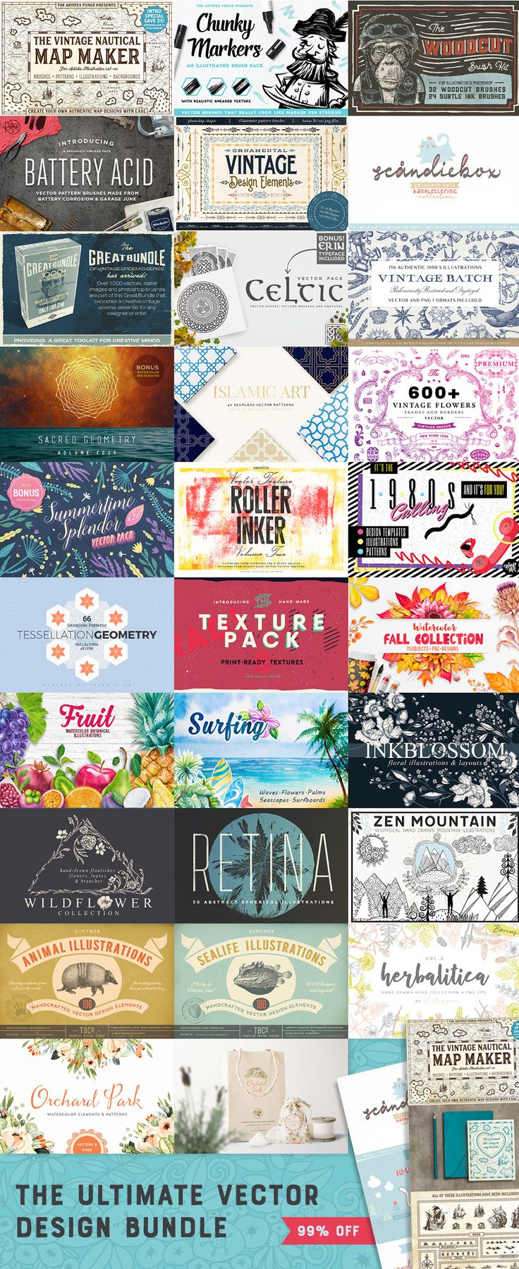 The Creative Designer's Colossal Treasure Chest ~ The Ultimate Vector Design Bundle. 1000s of Quality Vectors, Endless Creative Possibilities. 1000s of Quality Vectors, Endless Creative Possibilities. 99% Off For a Limited Time.This bundle is the ultimate toolkit to kickstart your creativity. It's packed full with tons of best-selling vector design assets, based on our community's most requested items.