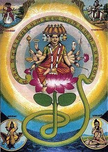 Ilustración de Raya Ravi Varma (1848-1906). En las ilustraciones, la diosa a menudo se sienta sobre una flor de loto y aparece con cinco cabezas y cinco pares de manos, en representación de las encarnaciones de la diosa como Párvati, etc. Es especialmente identificada como Sárasuati.