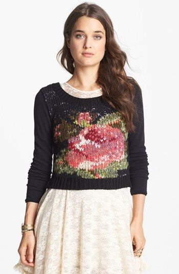get your quirky vintage cropped or skinny fit statement jumpers for over your tulle skirts and cocktail dresses for informal party , festival wear now alice followers be ahead of the 2016 trend now Free People 'Magic Rose' Sweater cross stitch on knit