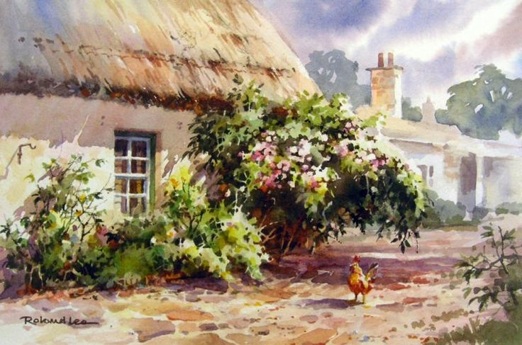 107 best images about watercolor artist roland lee on for Watercolor cottages