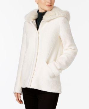 Laundry by Shelli Segal Faux-Fur-Hood Coat - Ivory/Cream XXS