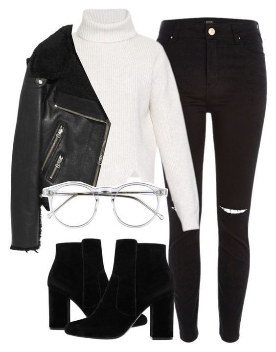 #winter #outfits / zerrissene Jeans + Rollkragenpullover # MännerFitnessoutfits – Dagna Emelia