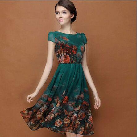 Verão de manga curta vestido de chiffon de impressão verde ( ml XL )