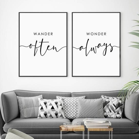 Wander Often Wonder Always Print Living Room Prints Set Etsy Bedroom Prints Bedroom Wall Art Living Room Prints