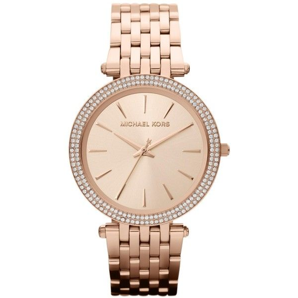 Michael Kors Darci Rose Gold Watch MK3192 ($250) ❤ liked on Polyvore featuring men's fashion, men's jewelry, men's watches, watches, gold, men's blue dial watches, michael kors mens watches, mens watches jewelry, mens water resistant watches and mens watches