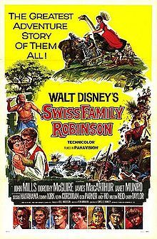 Swiss Family Robinson is a 1960 British-American feature film starring John Mills, Dorothy McGuire, James MacArthur and Janet Munro in a tale of a shipwrecked family building an island home, loosely based on the 1812 novel Der Schweizerische Robinson (literally, The Swiss Robinson) by Johann David Wyss. The film was directed by Ken Annakin and shot in Tobago and Pinewood Studios outside London.