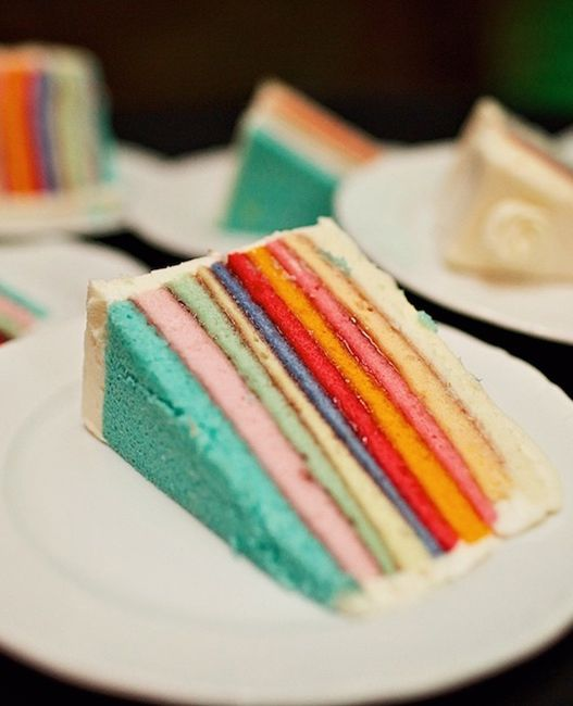 I would do different colors inside but I love the idea of making the cake inside colorful so the outside can be more traditional