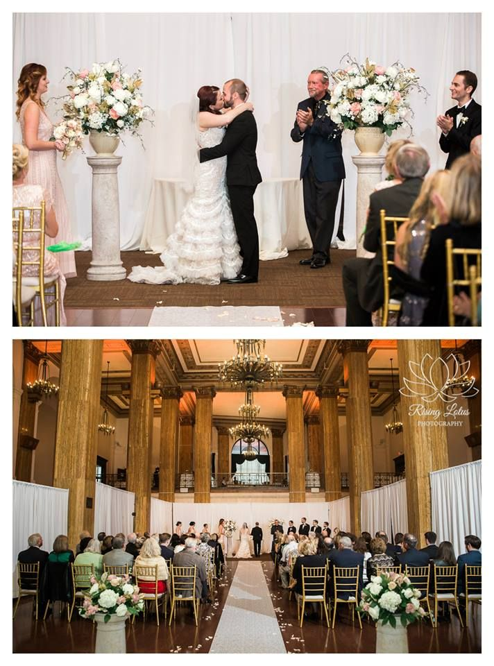 Wedding Ceremony At 90 State Events Love The Little Pillars Altar Holding Flower Arrangements Photo Credit