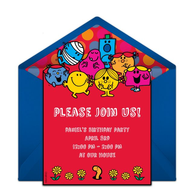 Customizable Mr. Men & Little Miss | Classic online invitations. Easy to personalize and send for a Mr. Men birthday party. #punchbowl
