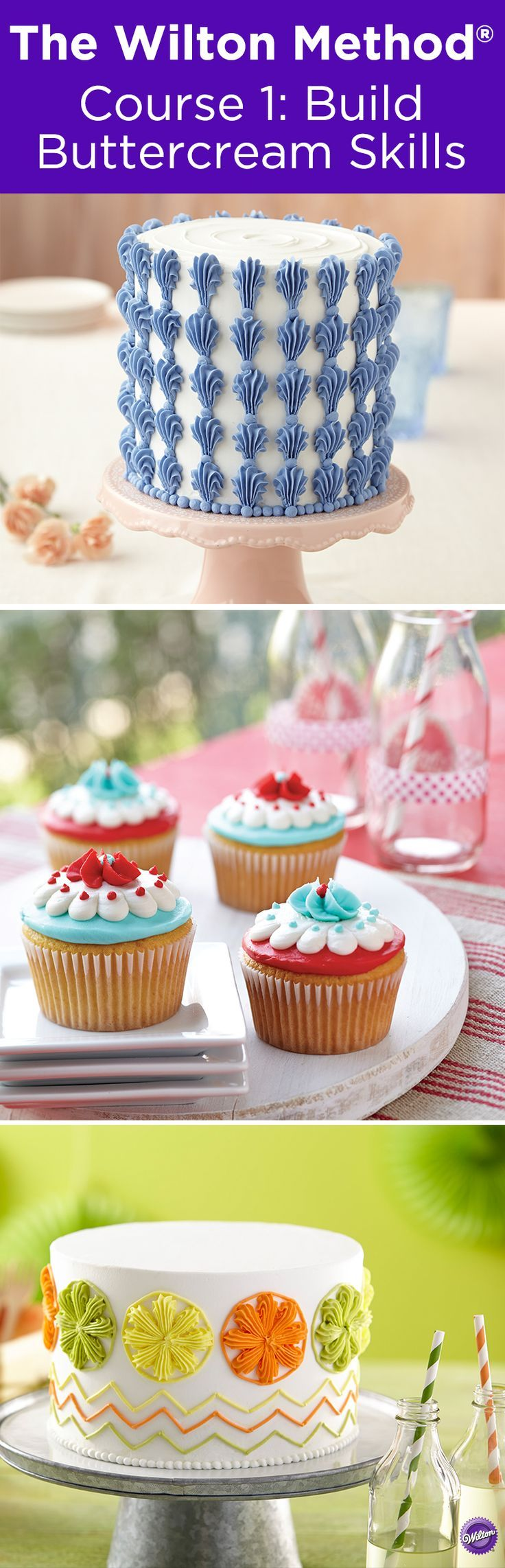 How to decorate cakes with buttercream - Learn how to decorate cakes and sweet treats with basic buttercream techniques and six simple-to-pipe flowers that transform ordinary cakes into extraordinary results when you sign up for The Wilton Method Course 1: Build Buttercream Skills.