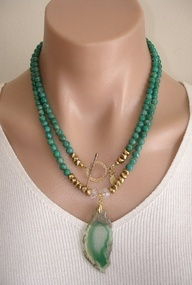 CLICK HERE TO BUY: https://www.etsy.com/listing/110782389/ashira-russian-amazonite-gemstone  Ashira Russian Amazonite Gemstone Necklace with GF Toggle and Natural Druzy Geode Green White Agate Pendant, $335, Trish Regan