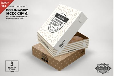 Download Box of Four Donut Pastry Box Mockup PSD Mockup Template in ...