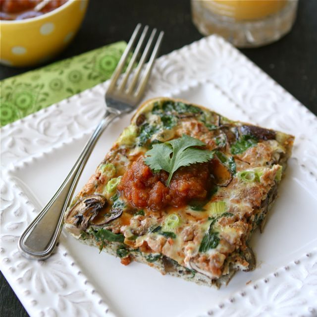 Baked Egg Breakfast Casserole with Mushrooms, Spinach Salsa. food eggs casseroles breakfast