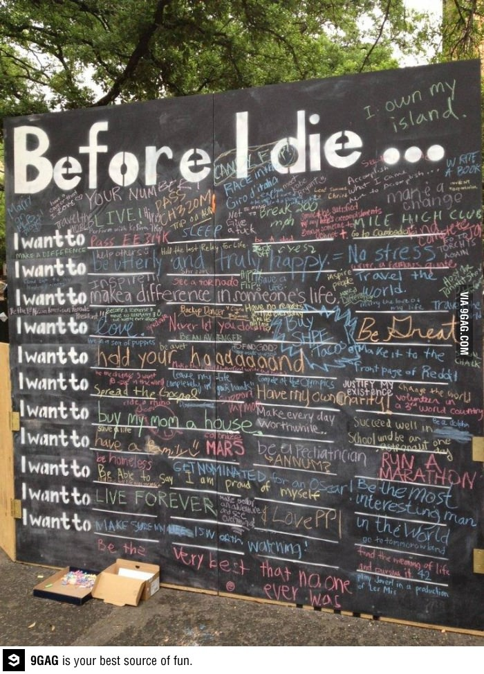 Chalkboard with 'Before I die...' and chalk for students to write in their thoughts