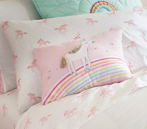 Organic Unicorn Rainbow Sheet Set   Little girl beds ...