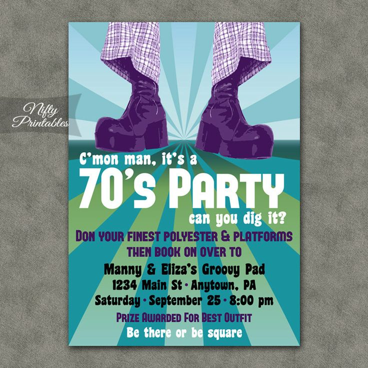 70's Party Invitations - Printable 1970s Theme Party Invitation - Disco Party Invites - Costume Party by NiftyPrintables on Etsy https://www.etsy.com/listing/196195381/70s-party-invitations-printable-1970s