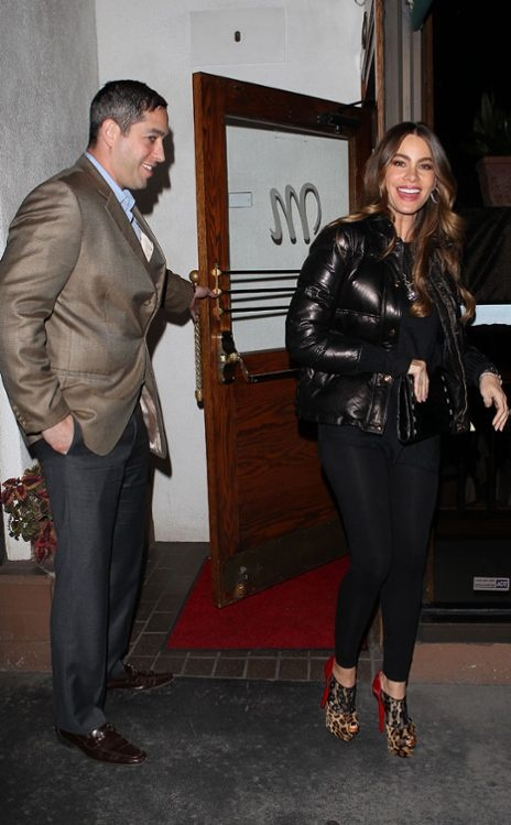 SOFIA VERGARA & NICK LOEB  Looks like the Modern Family star has nabbed quite the chivalrous gentleman there! The Colombian stunner and her fiancé head to dinner in West Hollywood.