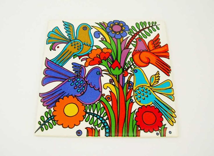 Villeroy And Boch Acapulco Ceramic Tile Trivet Made In Germany Vintage Mid Century Modern Trivet Colorful Collectible Kitchen Trivet Retro by DesignsFindsKC on Etsy