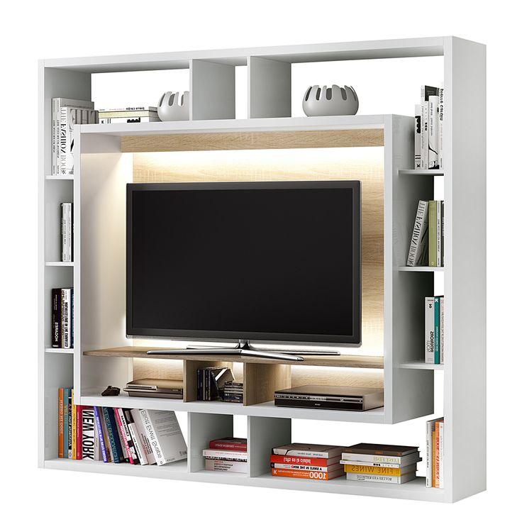 TV Medienwand Easy – Crème Weiß/Eiche Sonoma (Ohne Beleuchtung)