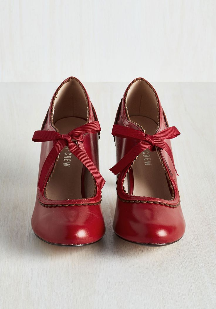 Live to Tell the Fairytale Heel. Foraying new style frontiers can feel like a wild ride, but with these brick red pumps by Chelsea Crew completing your look, youll thrive! #red #wedding #modcloth