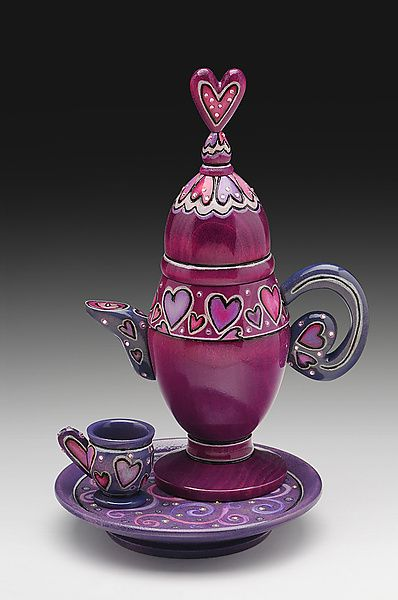 """""""Love"""" Wood Teapot Created byJanet O'Rourke One of a Kind"""