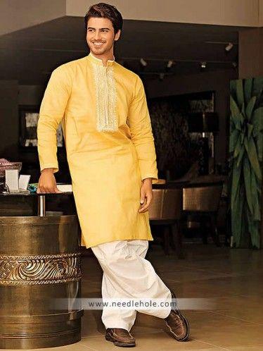 Formal kurta shalwar for men in sunglow color. Embroidered ...