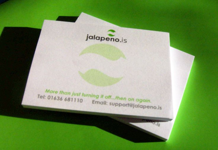 A Post-it note (Sticky Note) pads designed and printed for Jalapeno Business Services.