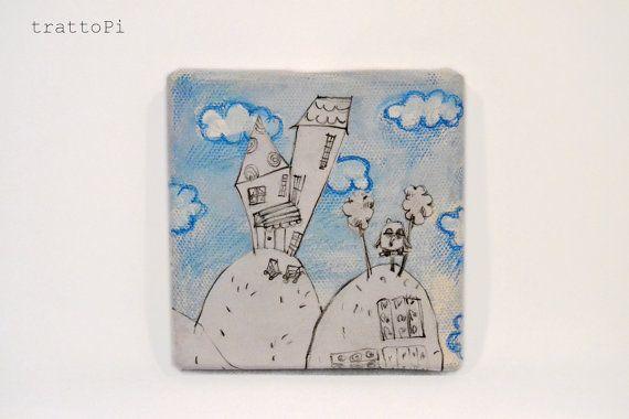 HOME  quadretto in tela paesaggio con gufo disegnato e di trattoPi