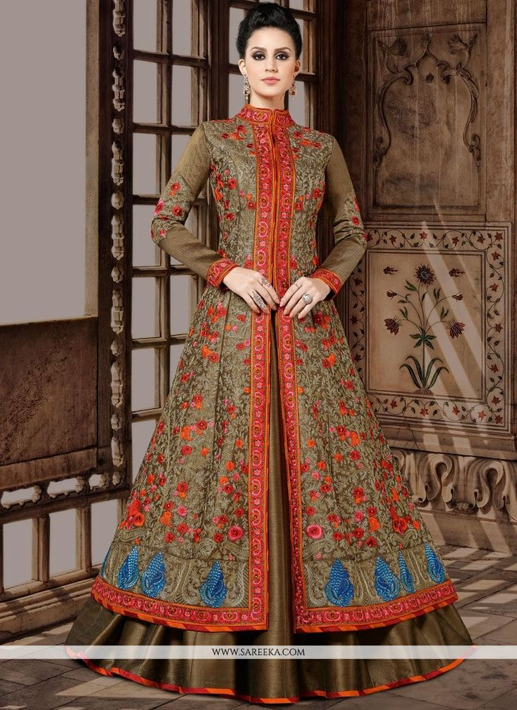 Be your very own style diva with this brown art silk floor length anarkali suit. Beautified with embroidered, lace and resham work all synchronized very well through the trend and style and design of ...