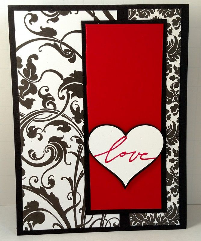 Made as a Design Team card for Try Stampin' -Or Not- On Tuesday Sketch Challenge #305: http://trystampinontuesday.blogspot.com/  Since we are nearing Valentines Day, I chose to use the sketch to create a masculine card. Although the pattern paper from Recollections is