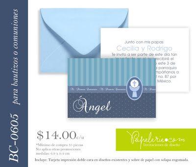 Papelerie: Invitaciones + Papeles + Materiales + Accesorios: Invitaciones de bautizo