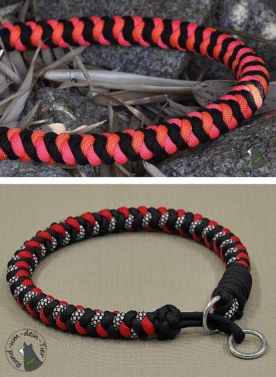 Paracord Halsbänder in 'Rund-gedoppelt'. Unten: Midi-Version mit Schnur-Zugstopp