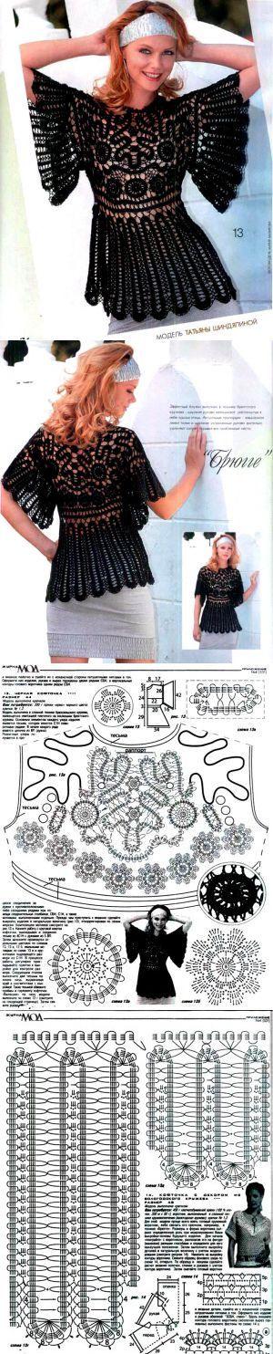 Schwarze Bluse | SAMOBRANOCHKA - Website für die Nadel Frauen, Meister
