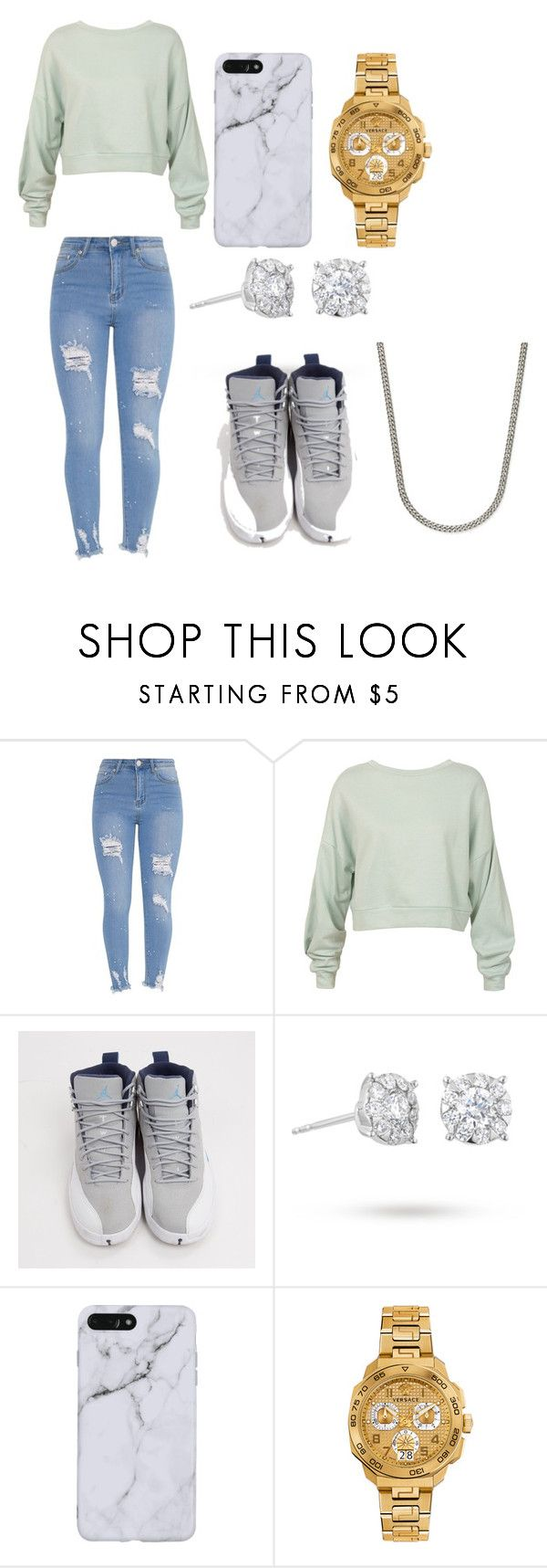 """""""@aevans3"""" by aevans3 on Polyvore featuring Sans Souci, Jordan Brand, Masquerade, Versace and Rhona Sutton"""