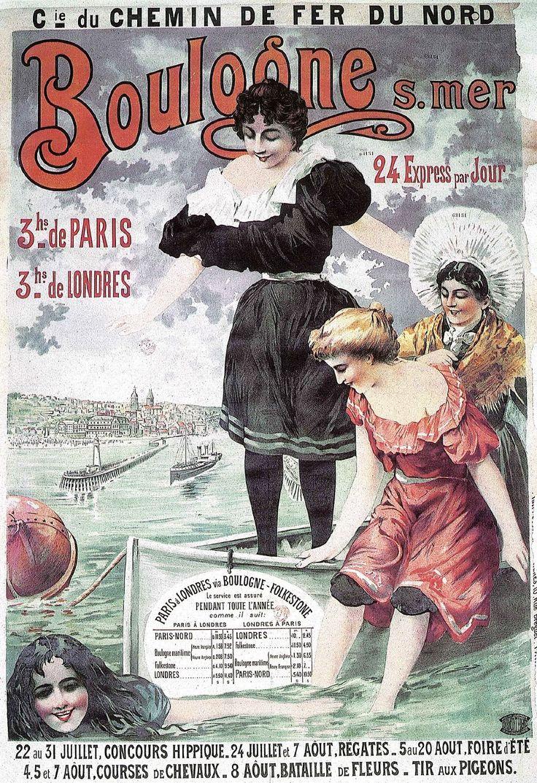 Boulogne Sur Mer, France atlantique . Vintage Travel beach Poster #plage #affiche www.varaldocosmetica.it/en