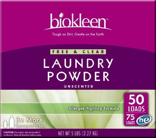 Biokleen Free & Clear Laundry Powder, 8-Count by Biokleen. Save 14 Off!. $79.29. Biokleen Free & Clear Laundry Powder value 8 pack is fragrance free, and like all Biokleen™ products, is clear of dyes and brighteners. Effectively cleans tough stains and odors while brightening whites and colors. Rinses clean, leaving no residue on clothes. CONTAINS NO: Phosphate, chlorine, ammonia, petroleum solvents, alcohol, butyl, glycol ether, metasilicate, brighteners,  SLS or SLES, EDTA, DE...