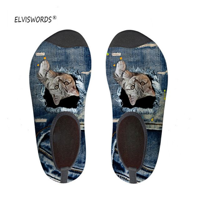 ELVISWORDS Cat Printed Slippers Summer Beach Slipper for Ladies Slip-on Sandals Fashion Women Casual Cute 3D Denim Kitty Shoes
