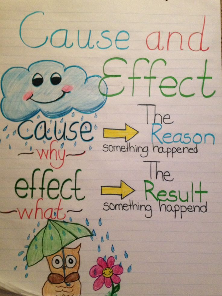 Cause and Effect Anchor Chart (borrowed concept from http://media-cache-ec0.pinimg.com/1200x/31/cb/cd/31cbcd111b950f201abf6e5e44069a25.jpg).