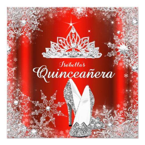 Regal Red Quinceanera Silver Tiara 15th Birthday Card