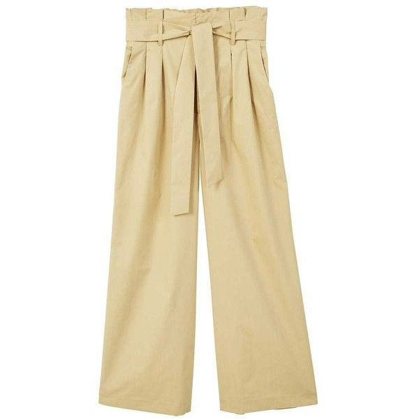 Belt Straight-Fit Trousers ($51) ❤ liked on Polyvore featuring pants, medium brown, mango pants, beige pants and mango trousers