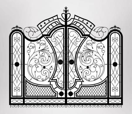 art deco:  Forged gate   Illustration