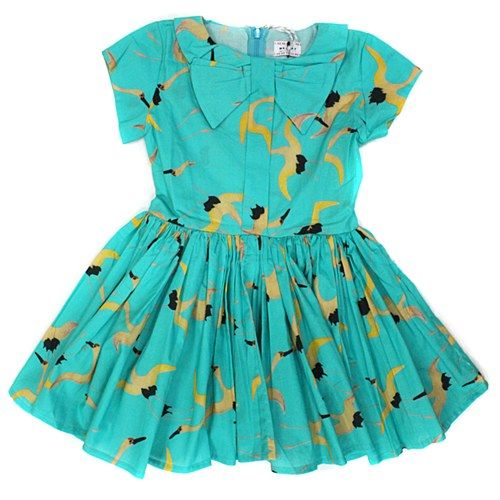 Morley Bow Dress in Bird Print