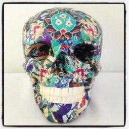 Blue decoupage skull