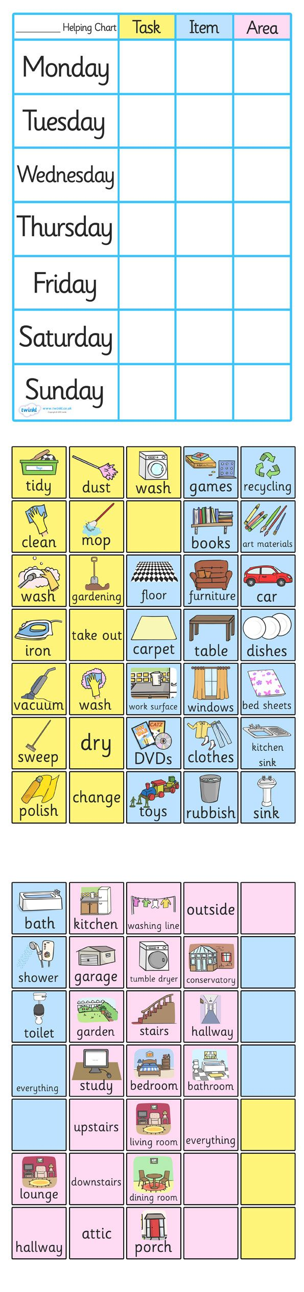 Twinkl Resources >> Chpre Chart For Home >> Thousands of printable primary teaching resources for EYFS, KS1, KS2 and beyond! chore chart, home use, home school, home, help, item, area, tidy, wash, bedroom, bathroom, cleaning                                                                                                                                                     More