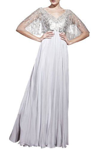 Product review for Chiffon A-line Special Occasion V-Neck Short Sleeves Long Mother of the Bride Dress.  - It is a chic a line evening dress. Silver Chiffon & Stretch Silk-like Satin Evening Dresses, Features with exqusite Beaded and embellishment, beautiful V neck neckline ,and adapt to mother of the bride dresses,mothers bride dresses,petite dresses special occasion This is a finished dress...